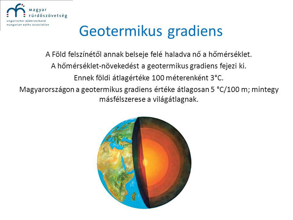 Geotermikus gradiens A Föld felszínétől annak belseje felé haladva nő a hőmérséklet. A hőmérséklet-növekedést a geotermikus gradiens fejezi ki. Ennek