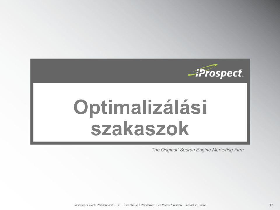 Optimalizálási szakaszok Copyright ® 2009, iProspect.com, Inc.