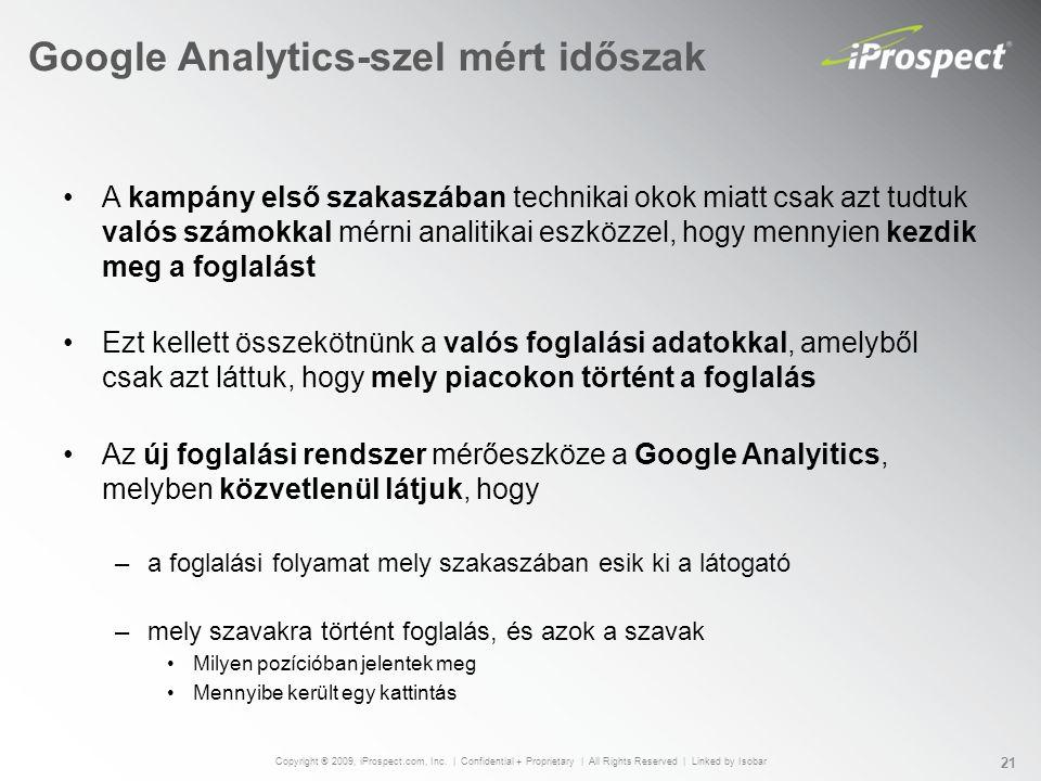 Google Analytics-szel mért időszak A kampány első szakaszában technikai okok miatt csak azt tudtuk valós számokkal mérni analitikai eszközzel, hogy mennyien kezdik meg a foglalást Ezt kellett összekötnünk a valós foglalási adatokkal, amelyből csak azt láttuk, hogy mely piacokon történt a foglalás Az új foglalási rendszer mérőeszköze a Google Analyitics, melyben közvetlenül látjuk, hogy –a foglalási folyamat mely szakaszában esik ki a látogató –mely szavakra történt foglalás, és azok a szavak Milyen pozícióban jelentek meg Mennyibe került egy kattintás Copyright ® 2009, iProspect.com, Inc.