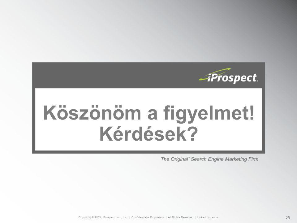 Köszönöm a figyelmet. Kérdések. Copyright ® 2009, iProspect.com, Inc.
