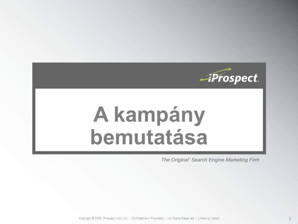 A kampány bemutatása Copyright ® 2009, iProspect.com, Inc.