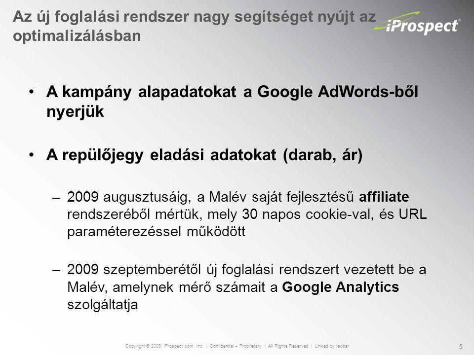 Az új foglalási rendszer nagy segítséget nyújt az optimalizálásban A kampány alapadatokat a Google AdWords-ből nyerjük A repülőjegy eladási adatokat (darab, ár) –2009 augusztusáig, a Malév saját fejlesztésű affiliate rendszeréből mértük, mely 30 napos cookie-val, és URL paraméterezéssel működött –2009 szeptemberétől új foglalási rendszert vezetett be a Malév, amelynek mérő számait a Google Analytics szolgáltatja Copyright ® 2009, iProspect.com, Inc.