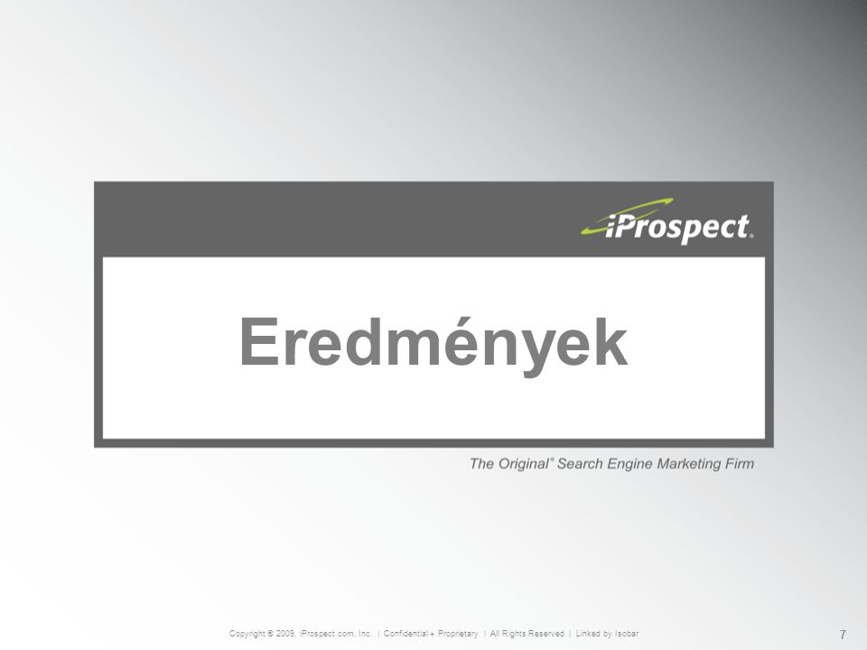 Eredmények Copyright ® 2009, iProspect.com, Inc.