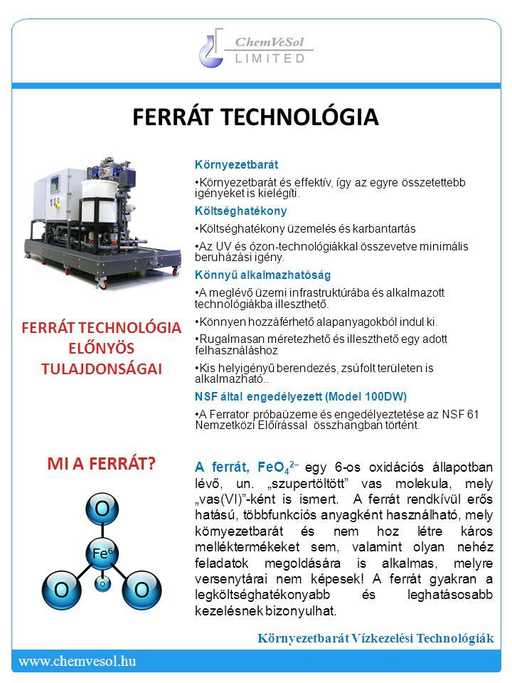 Környezetbarát Vízkezelési Technológiák www.chemvesol.hu Laboratóriumi kuriózum … Eddig – Az elmúlt 50 évben számos kutató vizsgálta a ferrátot.