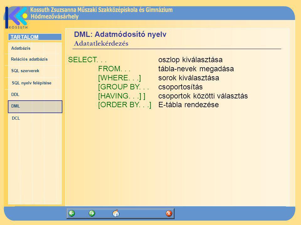TARTALOM Adatbázis Relációs adatbázis SQL szerverek SQL nyelv felépítése DDL DML DCL DML: Adatmódosító nyelv Adatatlekérdezés SELECT...oszlop kiválasz