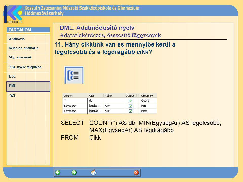 TARTALOM Adatbázis Relációs adatbázis SQL szerverek SQL nyelv felépítése DDL DML DCL DML: Adatmódosító nyelv Adatatlekérdezés, összesítő függvények SE