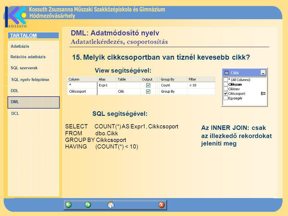 TARTALOM Adatbázis Relációs adatbázis SQL szerverek SQL nyelv felépítése DDL DML DCL DML: Adatmódosító nyelv Adatatlekérdezés, csoportosítás SELECT CO