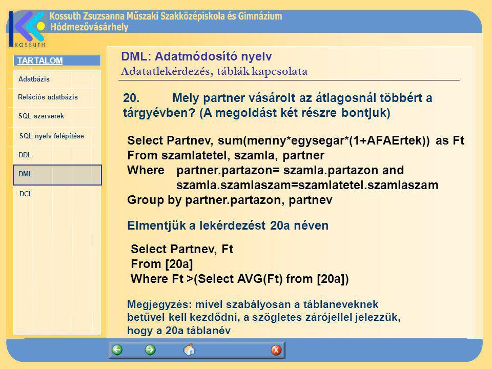 TARTALOM Adatbázis Relációs adatbázis SQL szerverek SQL nyelv felépítése DDL DML DCL DML: Adatmódosító nyelv Adatatlekérdezés, táblák kapcsolata 20.Me