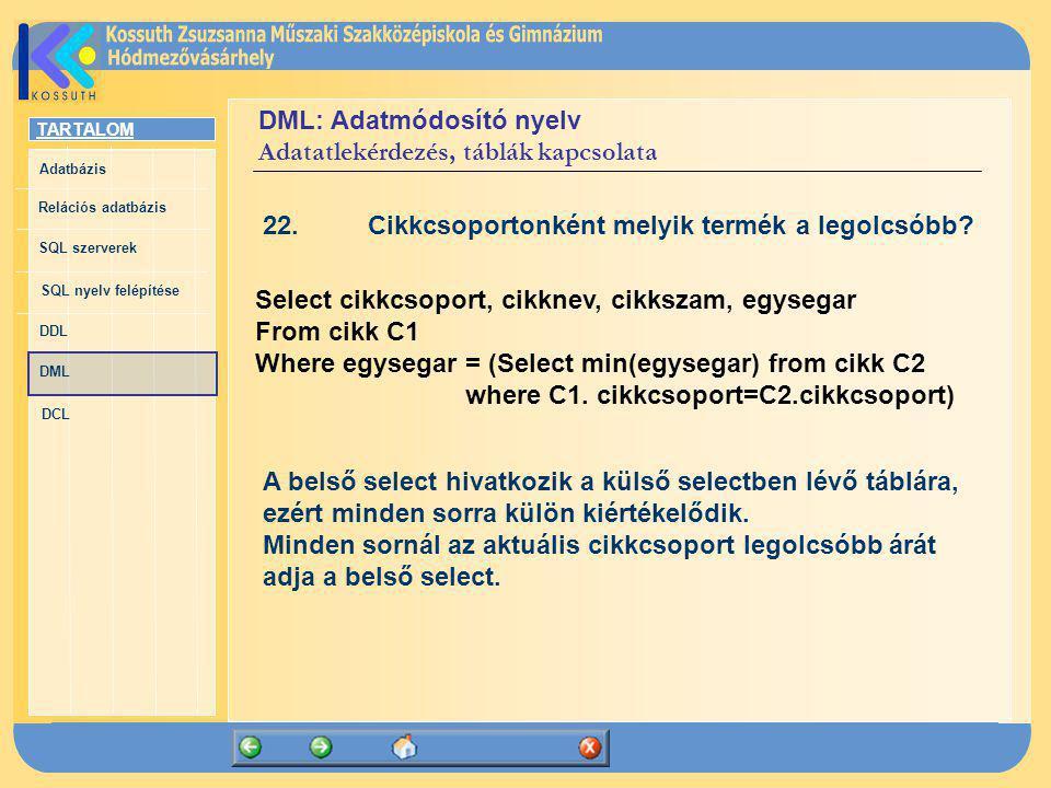 TARTALOM Adatbázis Relációs adatbázis SQL szerverek SQL nyelv felépítése DDL DML DCL DML: Adatmódosító nyelv Adatatlekérdezés, táblák kapcsolata 22.Ci