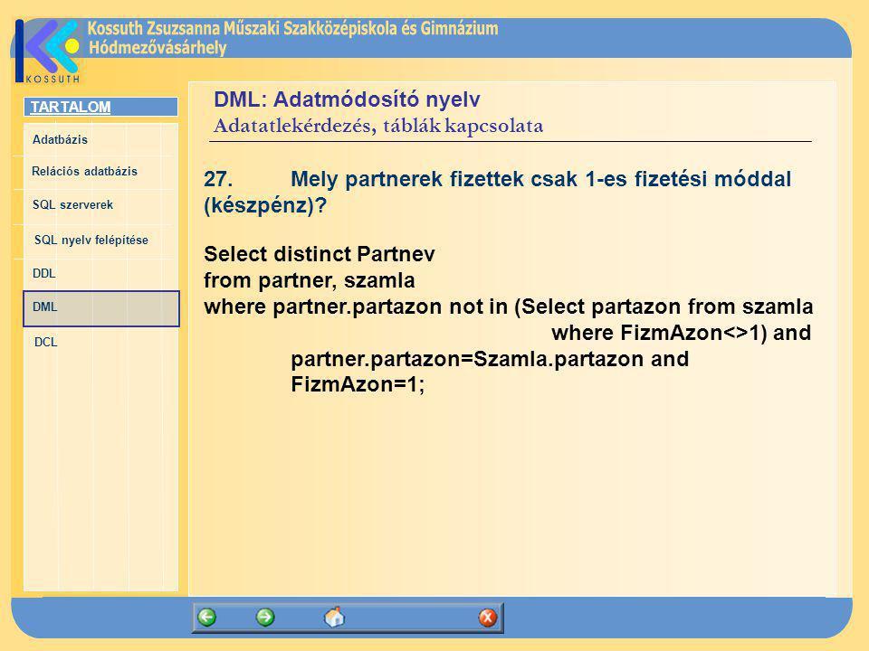 TARTALOM Adatbázis Relációs adatbázis SQL szerverek SQL nyelv felépítése DDL DML DCL DML: Adatmódosító nyelv Adatatlekérdezés, táblák kapcsolata 27.Me