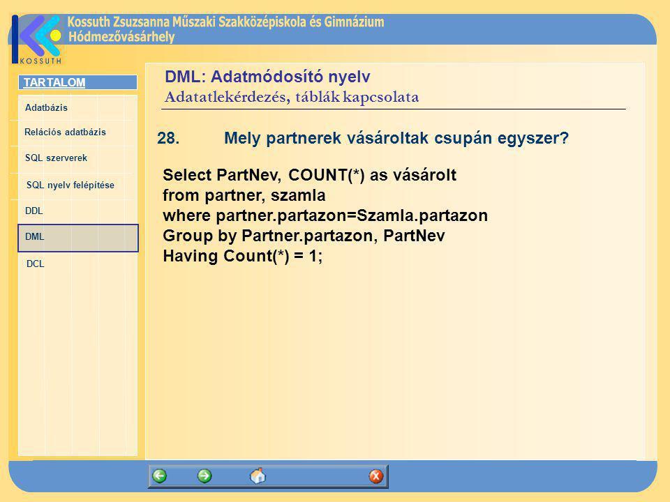 TARTALOM Adatbázis Relációs adatbázis SQL szerverek SQL nyelv felépítése DDL DML DCL DML: Adatmódosító nyelv Adatatlekérdezés, táblák kapcsolata 28.Me
