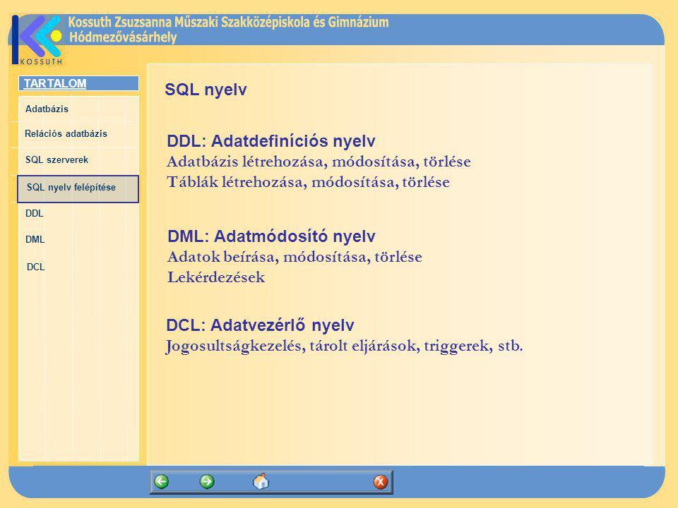 TARTALOM Adatbázis Relációs adatbázis SQL szerverek SQL nyelv felépítése DDL DML DCL SQL nyelv DCL: Adatvezérlő nyelv Jogosultságkezelés, tárolt eljár