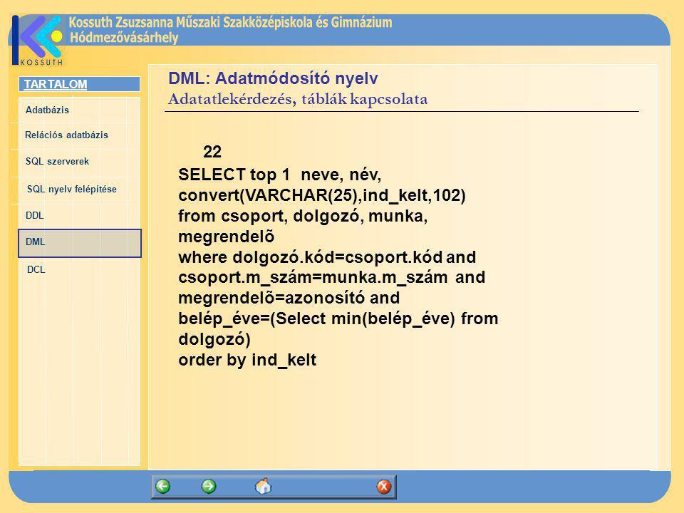 TARTALOM Adatbázis Relációs adatbázis SQL szerverek SQL nyelv felépítése DDL DML DCL DML: Adatmódosító nyelv Adatatlekérdezés, táblák kapcsolata 22 SE