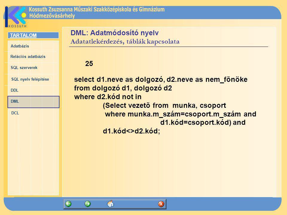 TARTALOM Adatbázis Relációs adatbázis SQL szerverek SQL nyelv felépítése DDL DML DCL DML: Adatmódosító nyelv Adatatlekérdezés, táblák kapcsolata 25 se