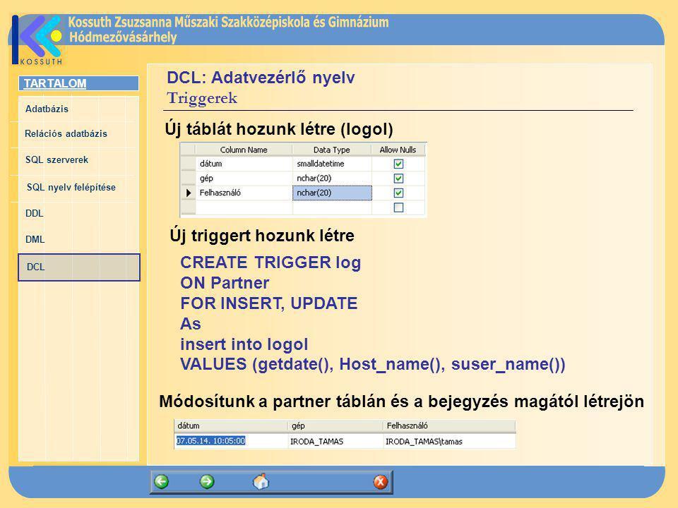 TARTALOM Adatbázis Relációs adatbázis SQL szerverek SQL nyelv felépítése DDL DML DCL DCL: Adatvezérlő nyelv Triggerek Új táblát hozunk létre (logol) Ú