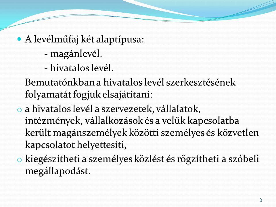 Hivatalos levél témája többek között lehet: Érdeklődés Felvilágosítás Megrendelés Nyugtázás Elismerés Panasz Kísérőlevél Stb.