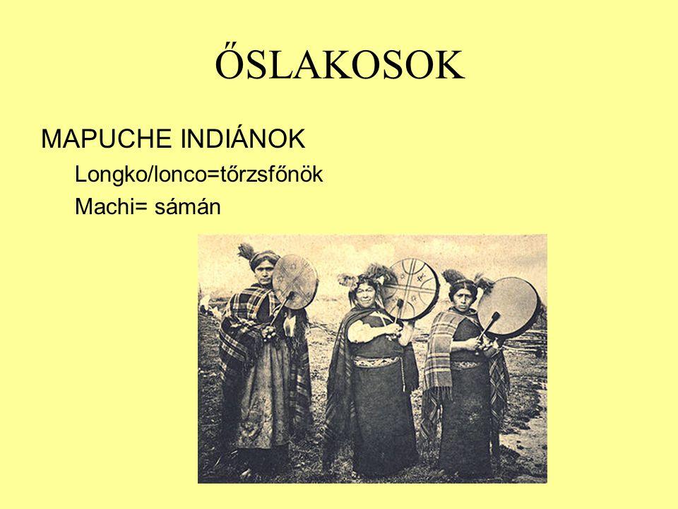 ŐSLAKOSOK MAPUCHE INDIÁNOK Longko/lonco=tőrzsfőnök Machi= sámán