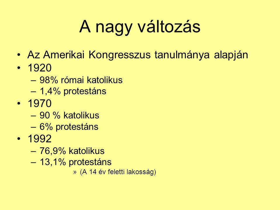 A nagy változás Az Amerikai Kongresszus tanulmánya alapján 1920 –98% római katolikus –1,4% protestáns 1970 –90 % katolikus –6% protestáns 1992 –76,9%