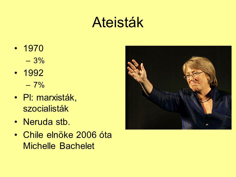 Ateisták 1970 –3% 1992 –7% Pl: marxisták, szocialisták Neruda stb. Chile elnöke 2006 óta Michelle Bachelet