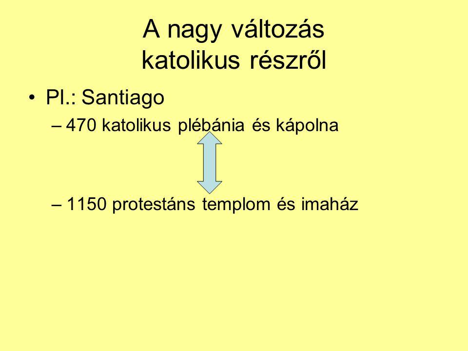 A nagy változás katolikus részről Pl.: Santiago –470 katolikus plébánia és kápolna –1150 protestáns templom és imaház