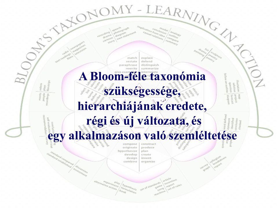 A Bloom-féle taxonómia szükségessége, hierarchiájának eredete, régi és új változata, és egy alkalmazáson való szemléltetése