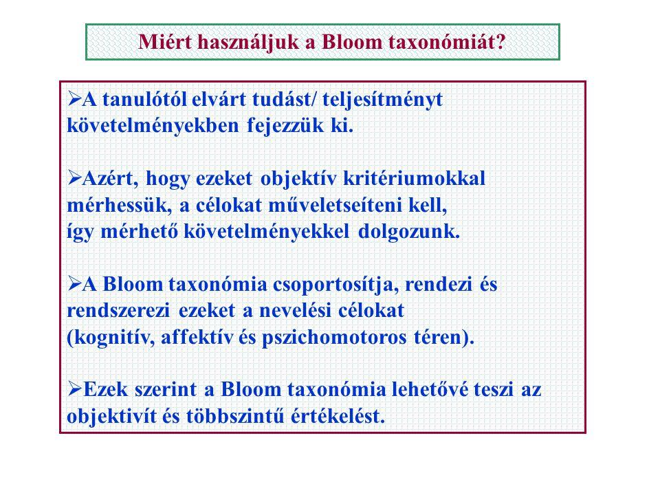 Miért használjuk a Bloom taxonómiát?  A tanulótól elvárt tudást/ teljesítményt követelményekben fejezzük ki. zért, hogy ezeket objektív kritériumokka