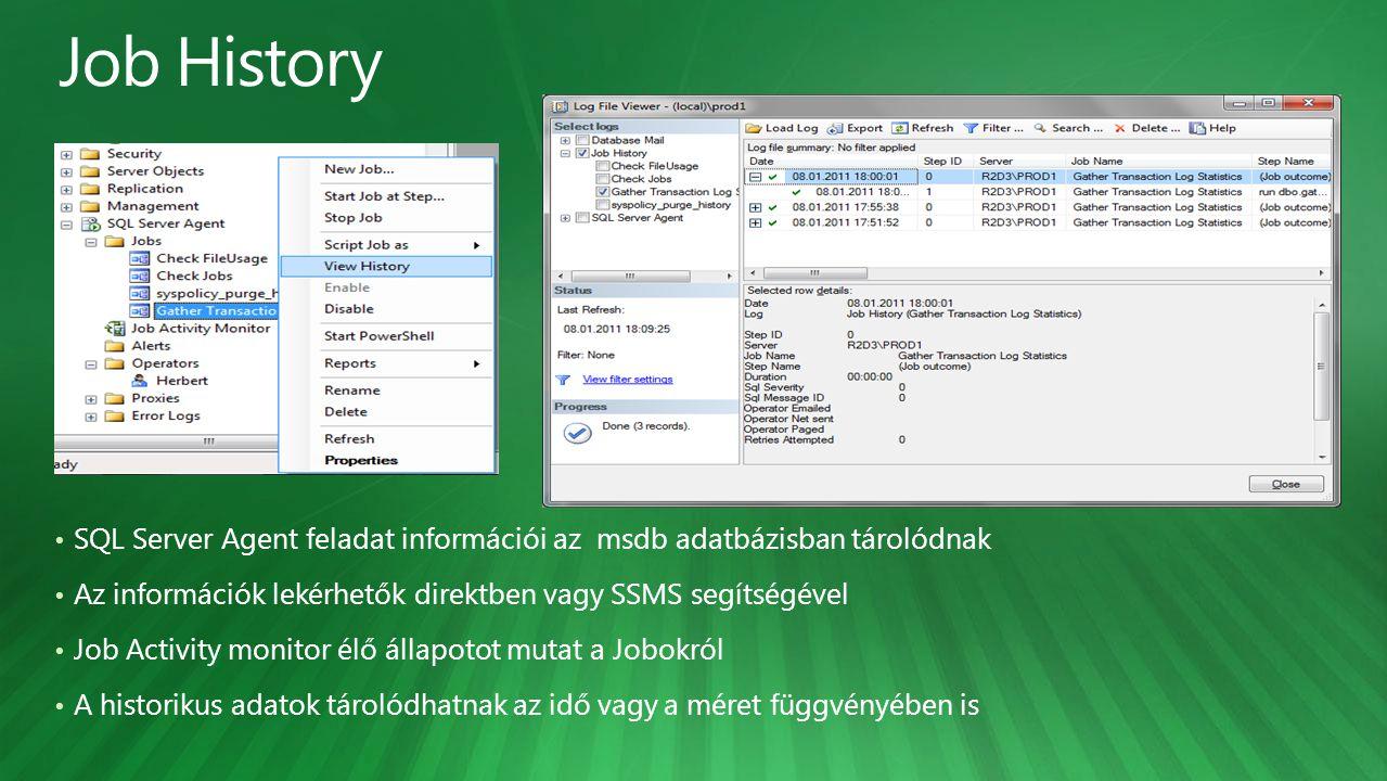 SQL Server Agent feladat információi az msdb adatbázisban tárolódnak Az információk lekérhetők direktben vagy SSMS segítségével Job Activity monitor é