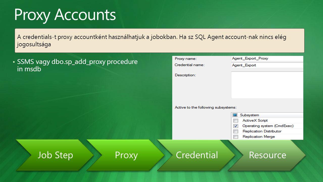 SSMS vagy dbo.sp_add_proxy procedure in msdb Job StepProxyCredentialResource A credentials-t proxy accountként használhatjuk a jobokban. Ha sz SQL Age