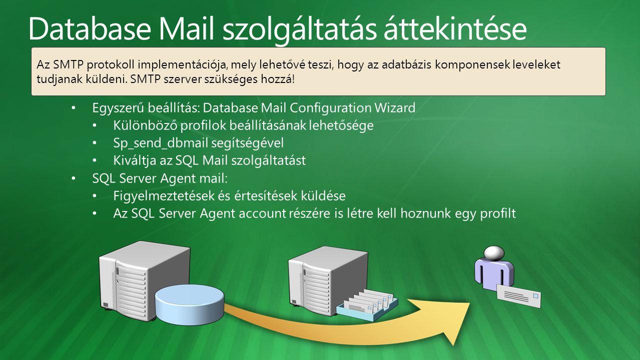 Az SMTP protokoll implementációja, mely lehetővé teszi, hogy az adatbázis komponensek leveleket tudjanak küldeni. SMTP szerver szükséges hozzá!