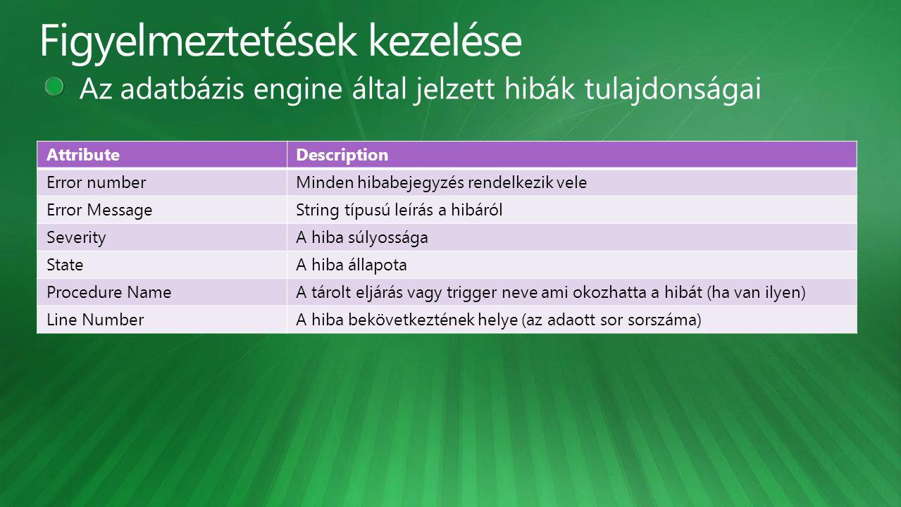 AttributeDescription Error numberMinden hibabejegyzés rendelkezik vele Error MessageString típusú leírás a hibáról SeverityA hiba súlyossága StateA hi