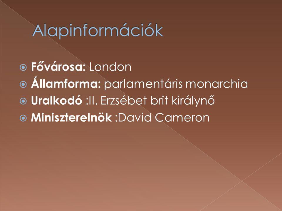  Fővárosa: London  Államforma: parlamentáris monarchia  Uralkodó :II.