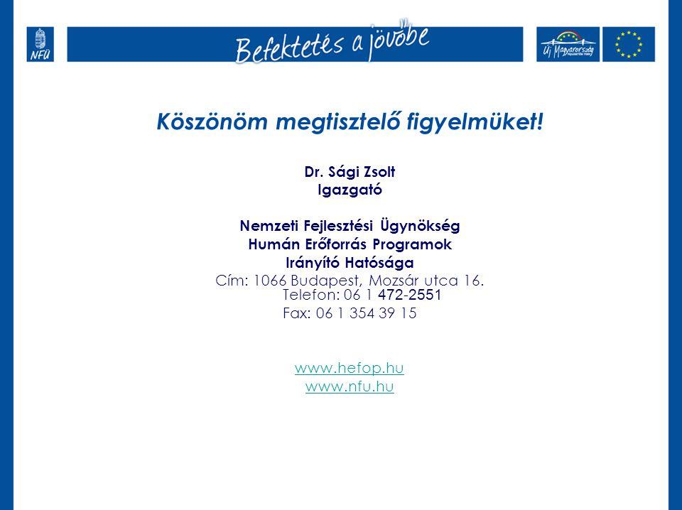 Köszönöm megtisztelő figyelmüket! Dr. Sági Zsolt Igazgató Nemzeti Fejlesztési Ügynökség Humán Erőforrás Programok Irányító Hatósága Cím: 1066 Budapest