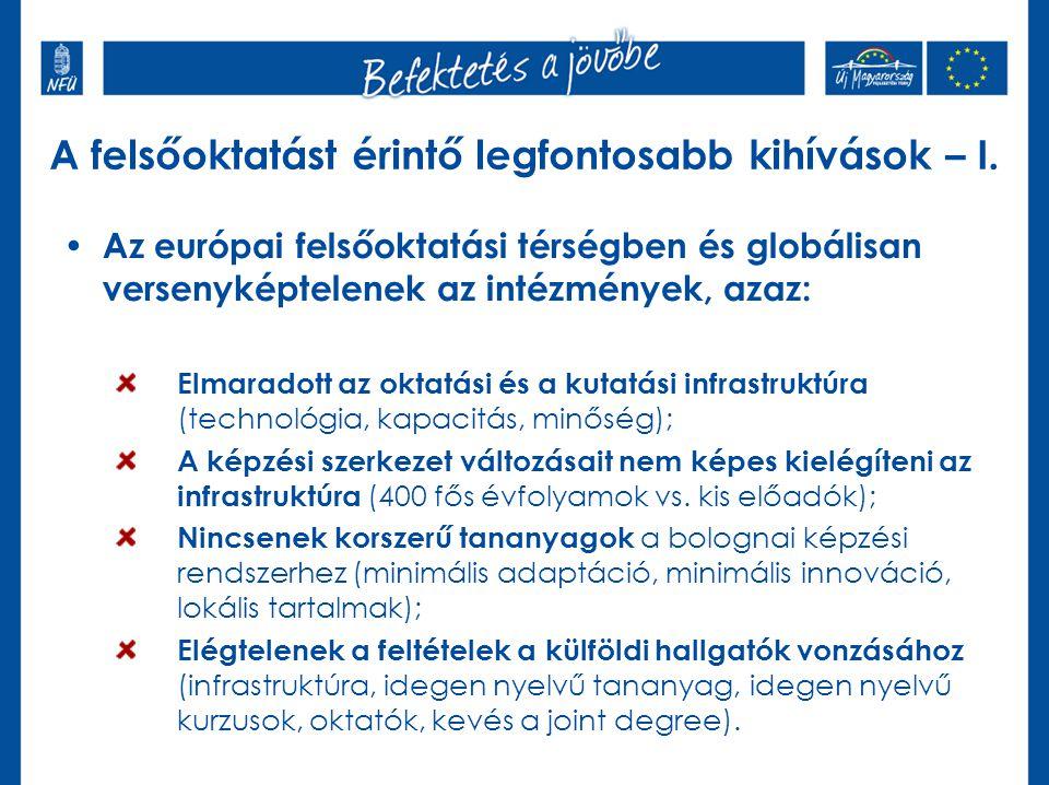 A felsőoktatást érintő legfontosabb kihívások – I. Az európai felsőoktatási térségben és globálisan versenyképtelenek az intézmények, azaz: Elmaradott