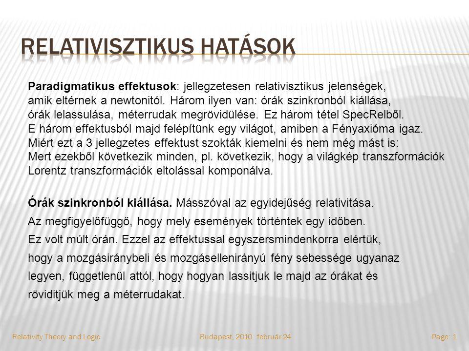 Budapest, 2010. február 24Relativity Theory and LogicPage: 1 Paradigmatikus effektusok: jellegzetesen relativisztikus jelenségek, amik eltérnek a newt