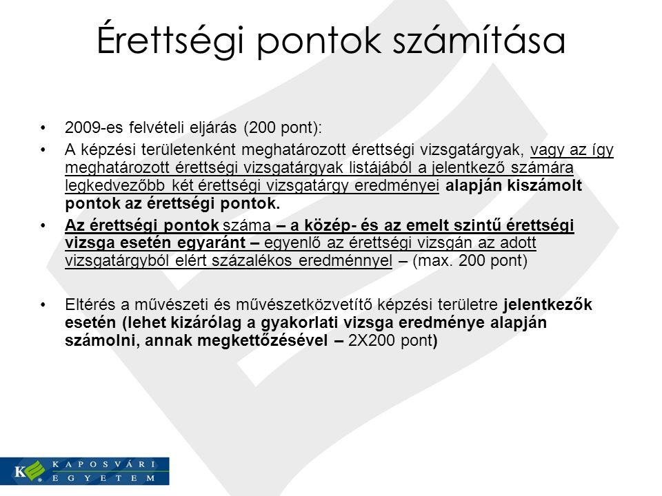 Érettségi pontok számítása 2009-es felvételi eljárás (200 pont): A képzési területenként meghatározott érettségi vizsgatárgyak, vagy az így meghatároz