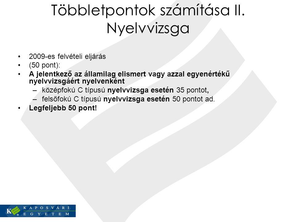 Többletpontok számítása II. Nyelvvizsga 2009-es felvételi eljárás (50 pont): A jelentkező az államilag elismert vagy azzal egyenértékű nyelvvizsgáért