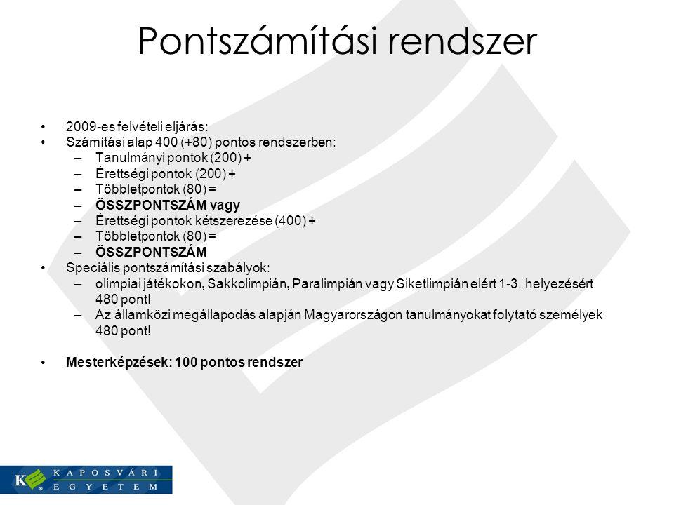 Pontszámítási rendszer 2009-es felvételi eljárás: Számítási alap 400 (+80) pontos rendszerben: –Tanulmányi pontok (200) + –Érettségi pontok (200) + –T