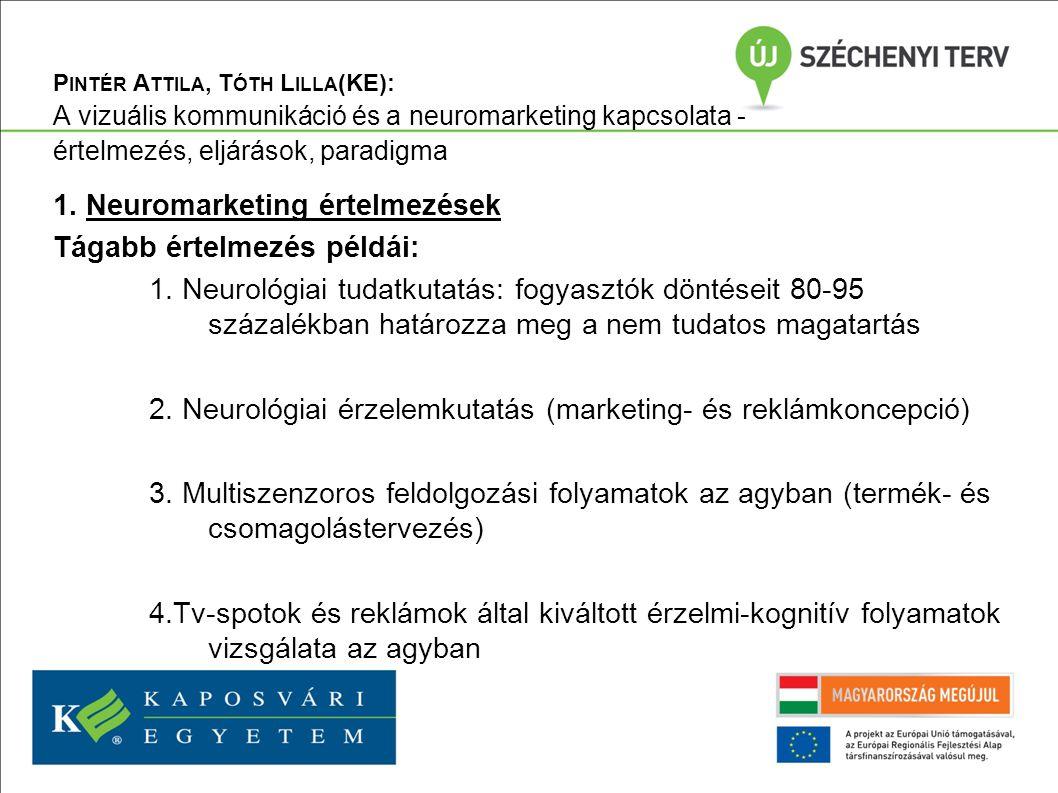 P INTÉR A TTILA, T ÓTH L ILLA (KE): A vizuális kommunikáció és a neuromarketing kapcsolata - értelmezés, eljárások, paradigma 5.