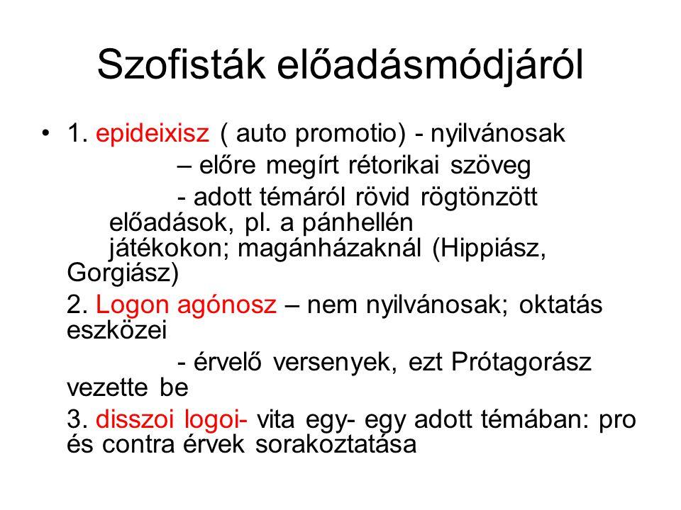 Szofisták előadásmódjáról 1. epideixisz ( auto promotio) - nyilvánosak – előre megírt rétorikai szöveg - adott témáról rövid rögtönzött előadások, pl.