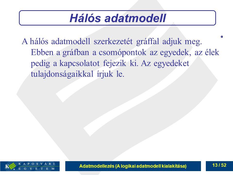 Adatmodellezés (A logikai adatmodell kialakítása) 13 / 52 Hálós adatmodell A hálós adatmodell szerkezetét gráffal adjuk meg. Ebben a gráfban a csomópo