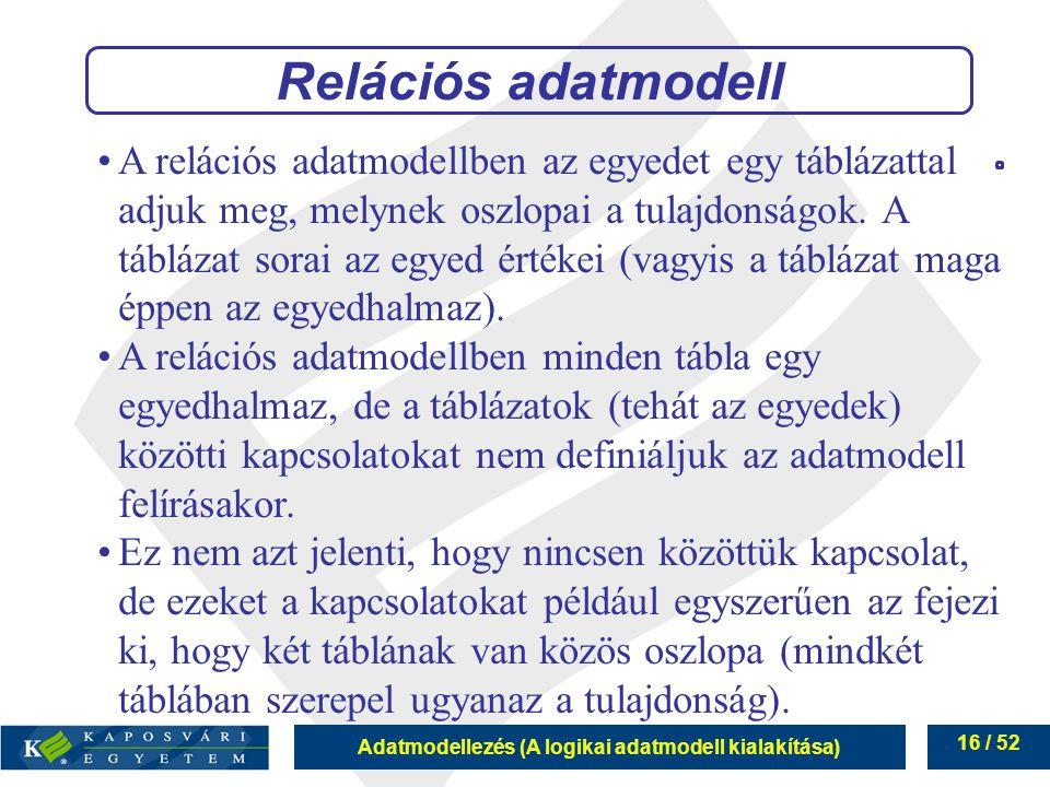 Adatmodellezés (A logikai adatmodell kialakítása) 16 / 52 Relációs adatmodell A relációs adatmodellben az egyedet egy táblázattal adjuk meg, melynek o
