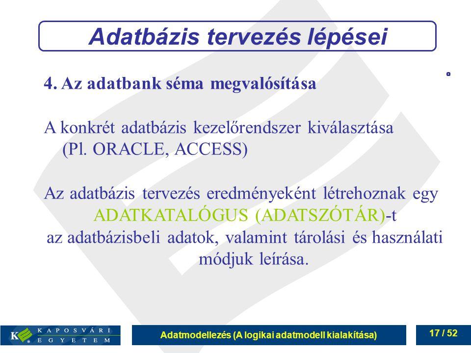 Adatmodellezés (A logikai adatmodell kialakítása) 17 / 52 4. Az adatbank séma megvalósítása A konkrét adatbázis kezelőrendszer kiválasztása (Pl. ORACL