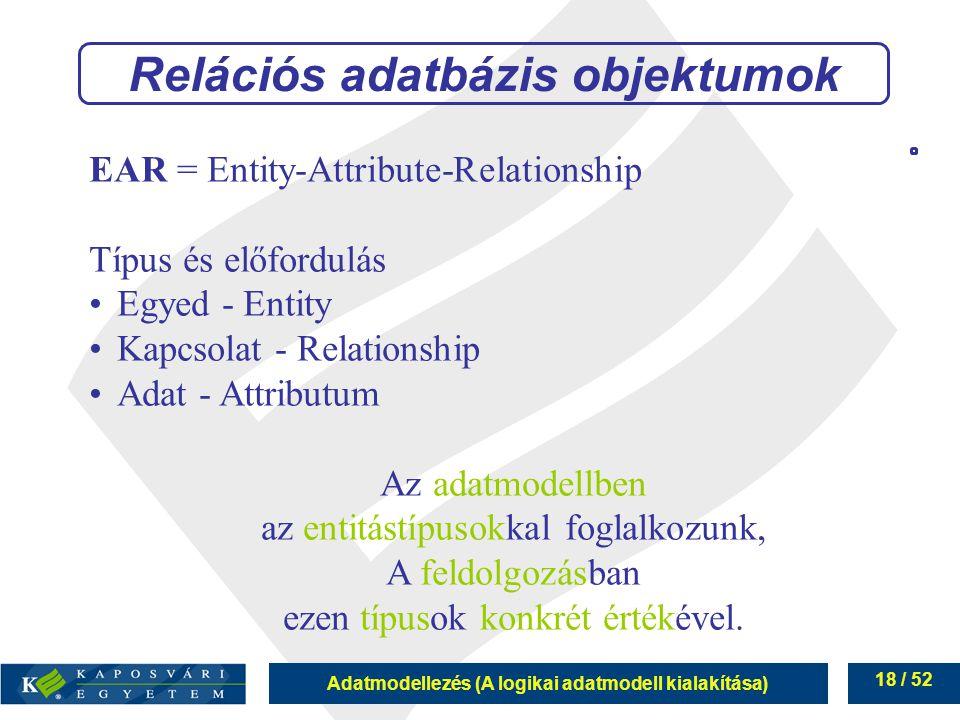 Adatmodellezés (A logikai adatmodell kialakítása) 18 / 52 Relációs adatbázis objektumok EAR = Entity-Attribute-Relationship Típus és előfordulás Egyed