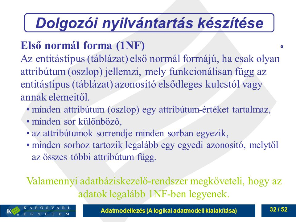 Adatmodellezés (A logikai adatmodell kialakítása) 32 / 52 Első normál forma (1NF) Az entitástípus (táblázat) első normál formájú, ha csak olyan attrib