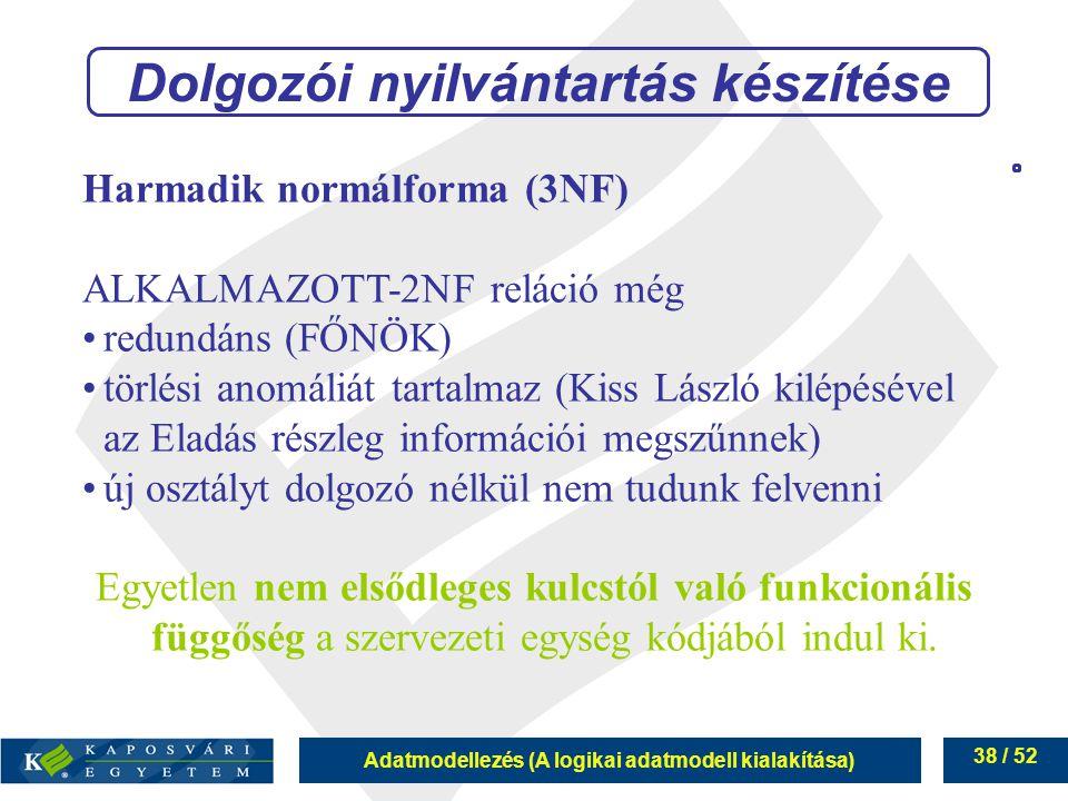 Adatmodellezés (A logikai adatmodell kialakítása) 38 / 52 Harmadik normálforma (3NF) ALKALMAZOTT-2NF reláció még redundáns (FŐNÖK) törlési anomáliát t