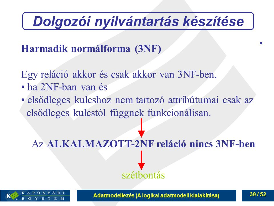 Adatmodellezés (A logikai adatmodell kialakítása) 39 / 52 Harmadik normálforma (3NF) Egy reláció akkor és csak akkor van 3NF-ben, ha 2NF-ban van és el