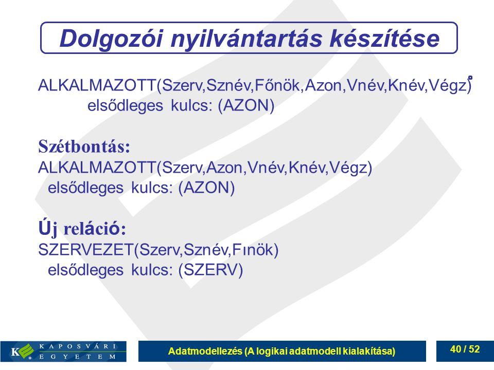 Adatmodellezés (A logikai adatmodell kialakítása) 40 / 52 ALKALMAZOTT(Szerv,Sznév,Főnök,Azon,Vnév,Knév,Végz) elsődleges kulcs: (AZON) Szétbontás: ALKA