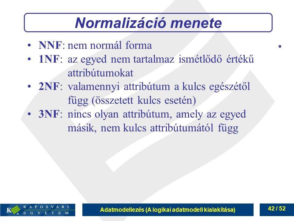 Adatmodellezés (A logikai adatmodell kialakítása) 42 / 52 NNF:nem normál forma 1NF:az egyed nem tartalmaz ismétlődő értékű attribútumokat 2NF:valamenn