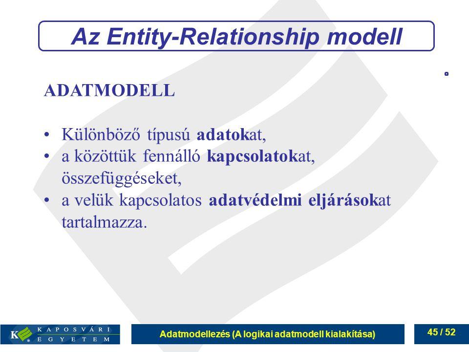 Adatmodellezés (A logikai adatmodell kialakítása) 45 / 52 ADATMODELL Különböző típusú adatokat, a közöttük fennálló kapcsolatokat, összefüggéseket, a