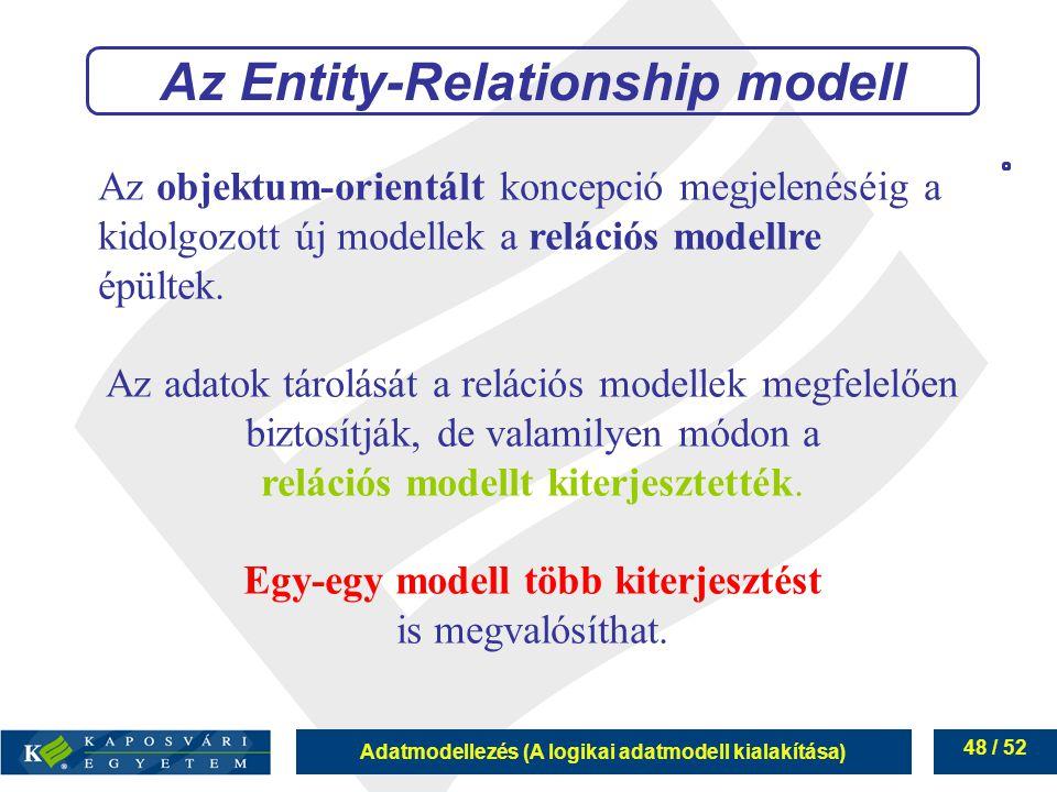 Adatmodellezés (A logikai adatmodell kialakítása) 48 / 52 Az objektum-orientált koncepció megjelenéséig a kidolgozott új modellek a relációs modellre